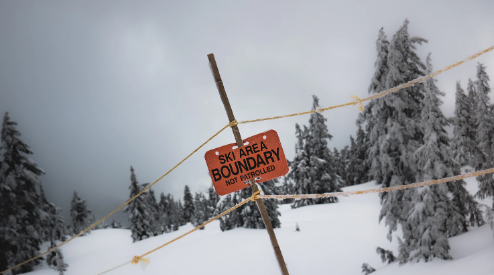 Boundary marker showing the edge of the ski area